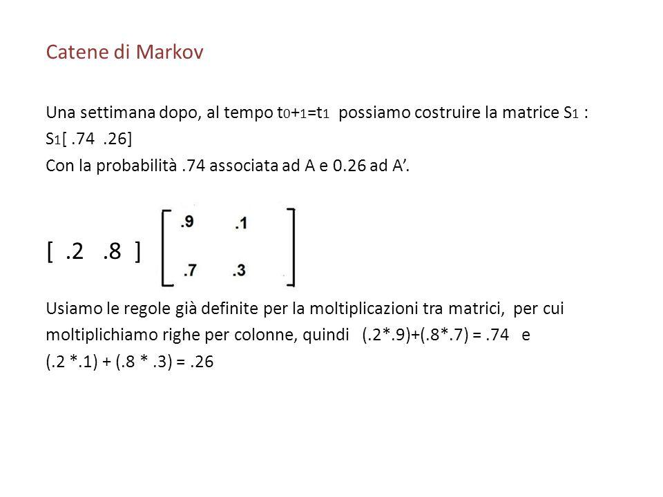 Catene di Markov Una settimana dopo, al tempo t0+1=t1 possiamo costruire la matrice S1 : S1[ .74 .26]